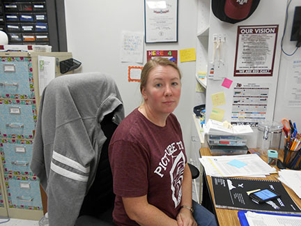 Jane Smalley, Photography and CAP teacher at ROJH, is part of the Medical Services team during Friday's mock disaster drill.