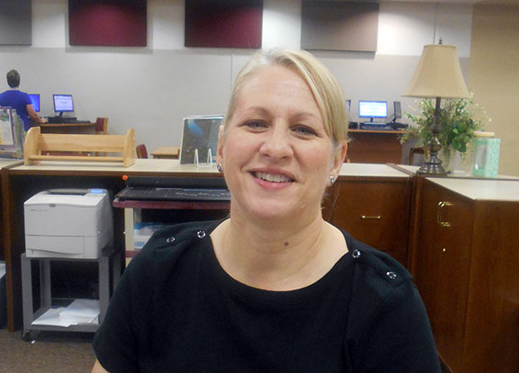 Librarian Cheryl Hawkins will serve on the Medical Services team during Friday's mock disaster drill/