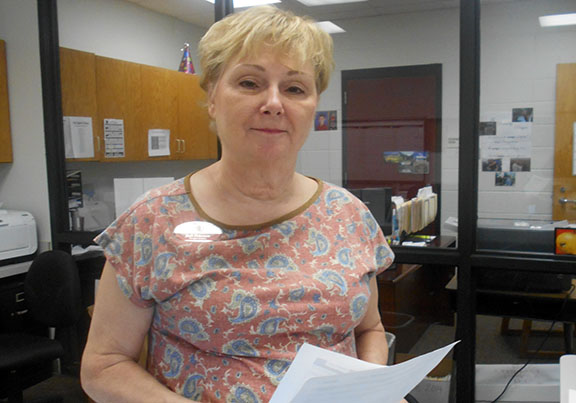 Judi Peterson, secretary at ROJH, will serve on the Contact and Communication team during Friday's mock disaster drill.