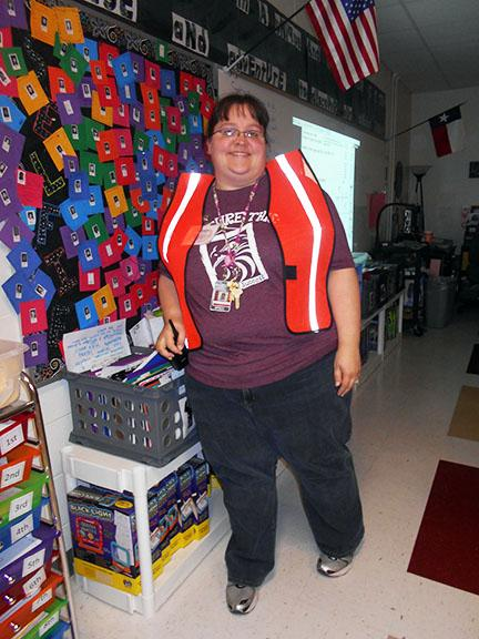 Amanda Hulett, math teacher at ROJH, will be part of the Student Care and Control team during Fridays mock disaster drill.