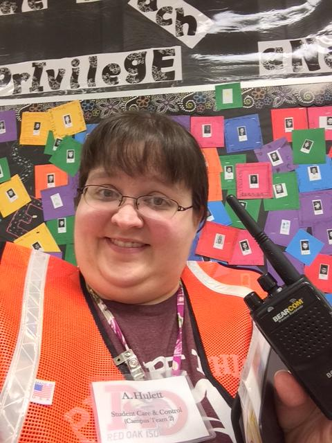 Amanda+Hulett%2C+math+teacher+at+ROJH%2C+will+be+part+of+the+Student+Care+and+Control+team+during+Friday%27s+mock+disaster+drill.