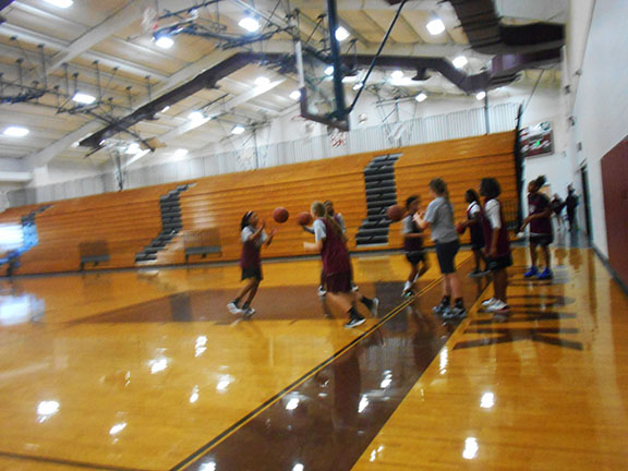 the red oak  jr high basketball  girls practice for the win