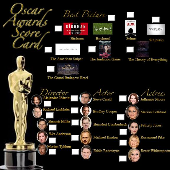 Get your guess on: 2015 Oscar Score Card