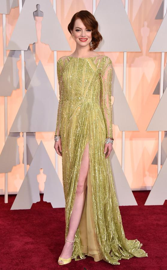 Emma Stone, also in Elie Saab, wore the wrong dress. The green in the dress looked awful and the red lipstick made it even worse.