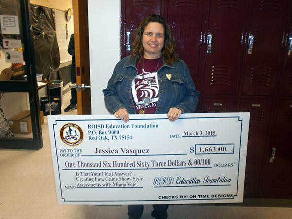 Math teacher Jessica Vasquez won a grant through the Education Foundation on March 2. Vasquez will use the grant to purchase clickers for her classroom.