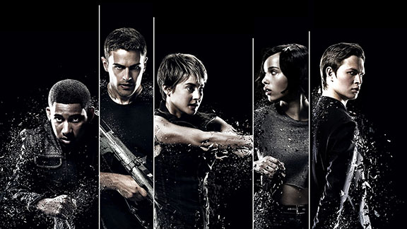 Shailene Woodley, center, starts as Tris in
