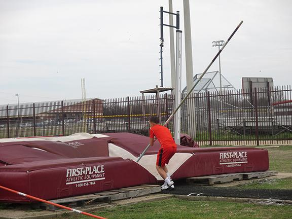 Carter Lincoln is doing pole vault to get ready for there next track meet for Red Oak Jr HIgh