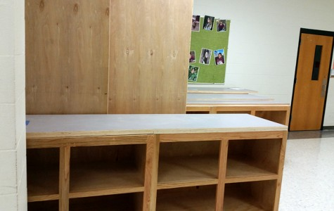 Furniture in zero hallway to provide extra storage in classrooms