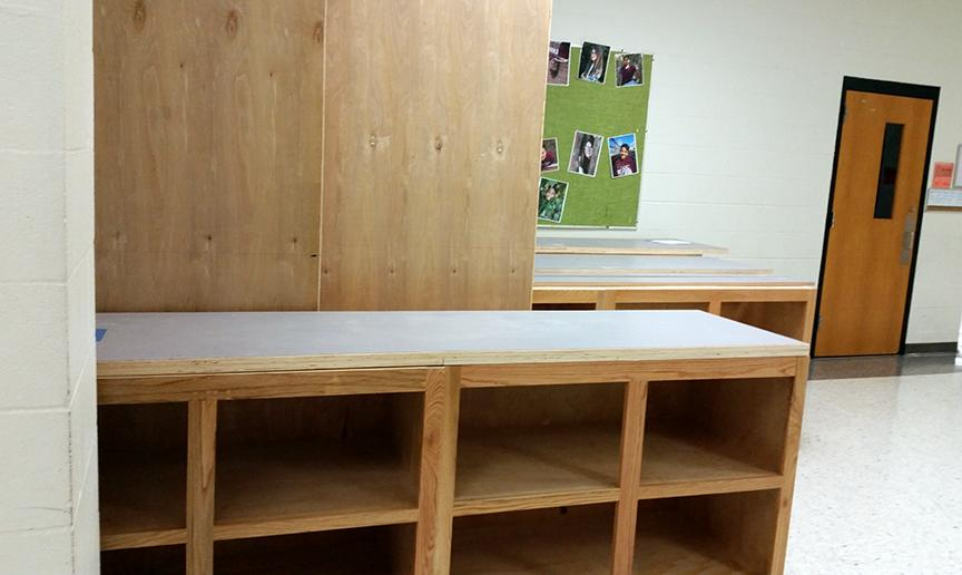 Furniture in the zero hallway awaits installation in teacher classrooms.