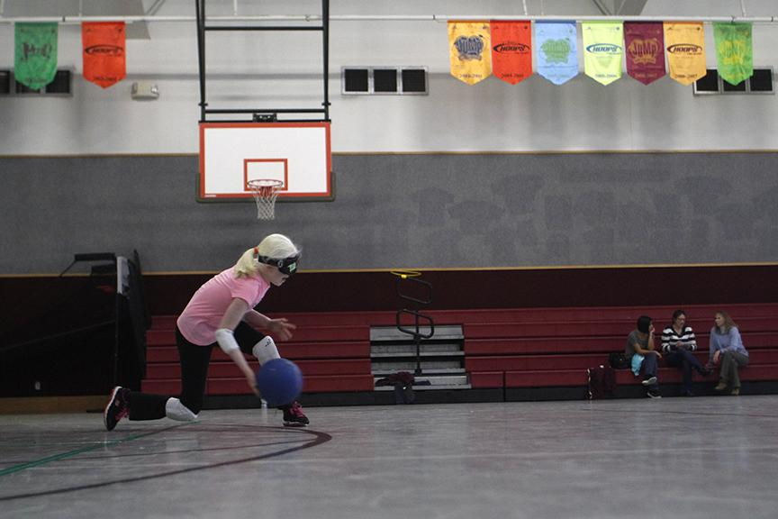 Paulina+Diaz+serves+the+ball+during+goalball+practice+Feb.+13.+%22I%E2%80%99m+not+even+sure+how+I+got+into+it%2C+I+just+know+that+I%E2%80%99m+IN+it%2C%22+Paulina+said.+%22I%E2%80%99m+really+proud+of+myself+when+it+comes+to+goalball%2C+because+there+are+a+lot+of+struggles+that+I%E2%80%99ve+had.+Especially+when+I+was+little%2C+I+was+smaller%2C+a+lot+of+the+people+on+the+team+were+a+lot+older+than+I+was.+They+threw+harder+than+me%2C+and+I+was+scared.%22