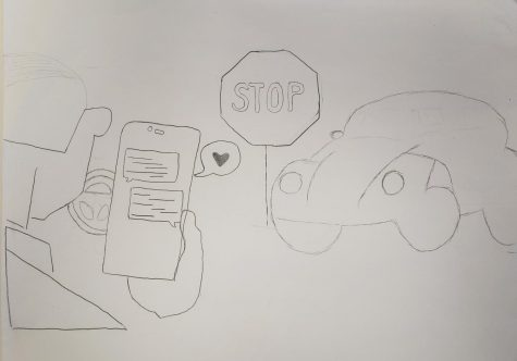 Editorial Cartoon - Texting while driving